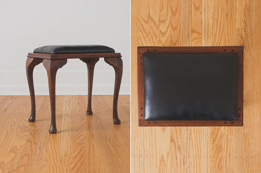 Black Leather Vanity Stool