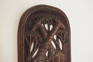 Carved Wood Giraffe Art