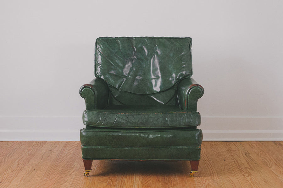 Green Leather Chair U0026 Ottoman