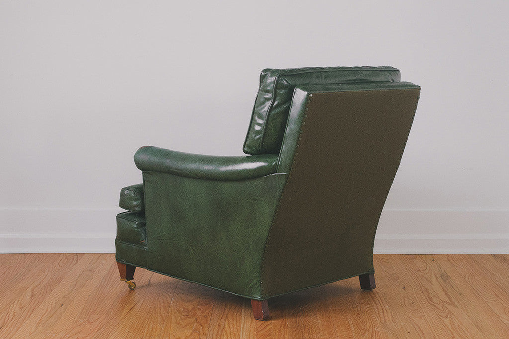 Superbe Green Leather Chair U0026 Ottoman