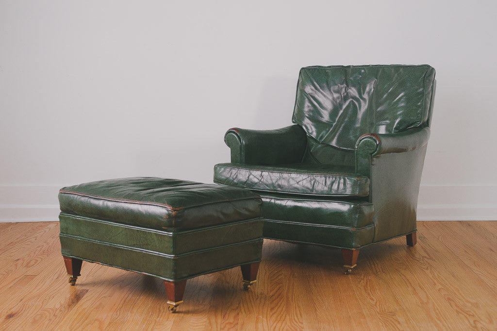 Marvelous Green Leather Chair U0026 Ottoman
