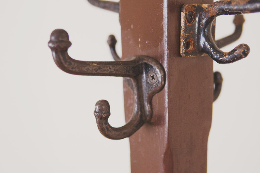 Vintage Wood Coat Rack