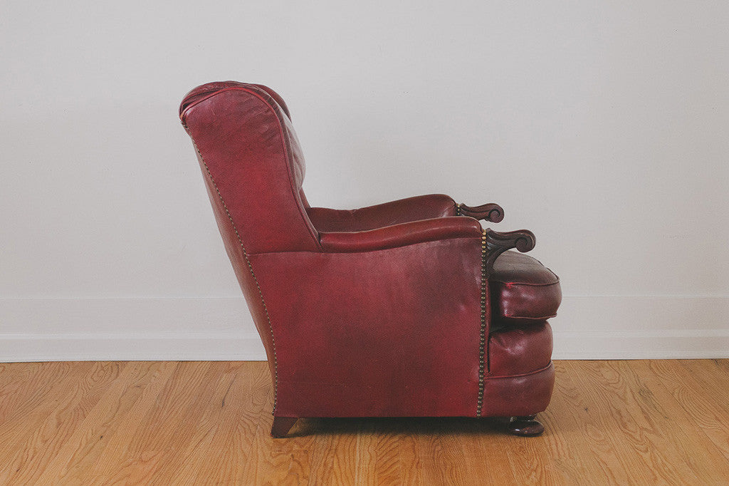 Antique Leather Club Chair - Antique Leather Club Chair - Homestead Seattle