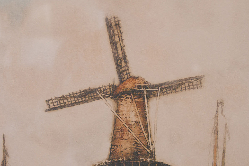 Vintage Dutch Windmill Print
