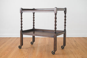 Carved Oak Bar Cart