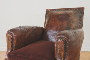 Antique French Leather Chair