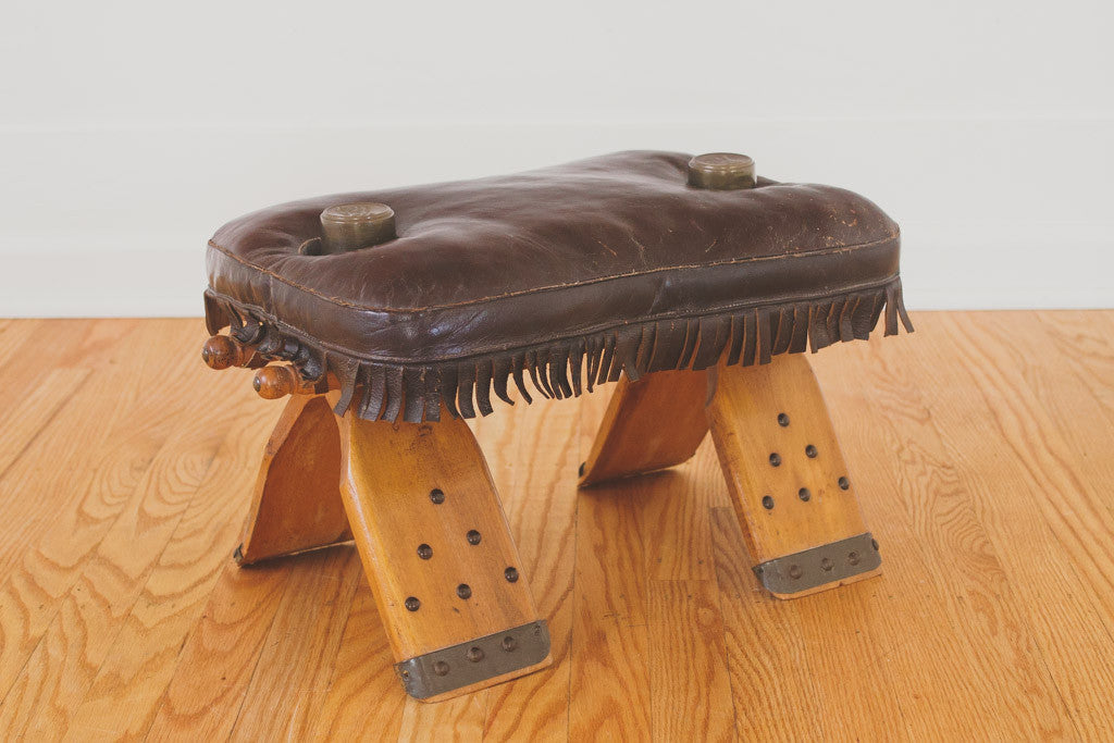 Vintage Leather Saddle Stool