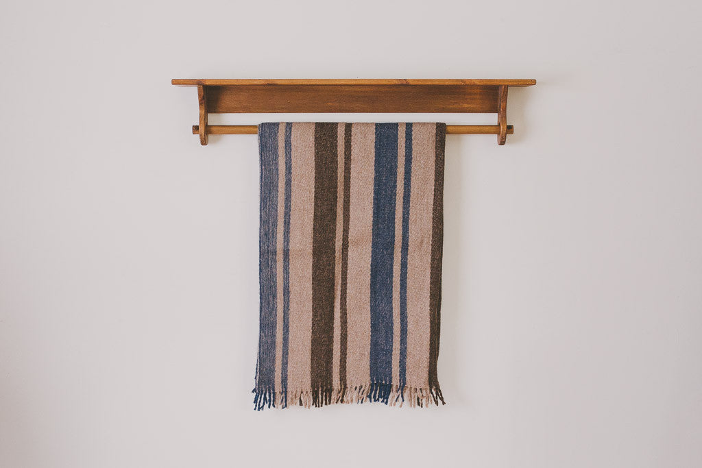 Navy Stripe Wool Blanket