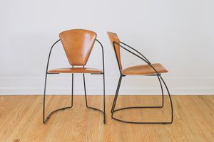 Minimalist Leather & Wire Chairs