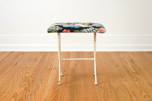 Art Deco Barkcloth Stool