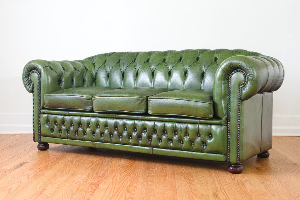 Green Leather Chesterfield Homestead Seattle