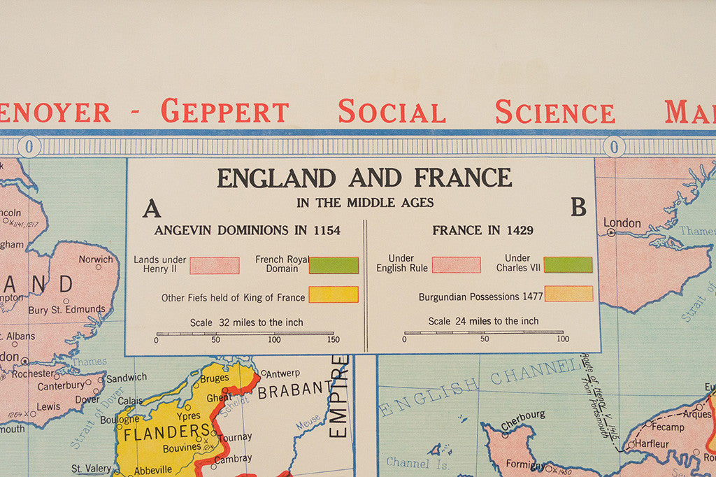 Map Of England To France.Vintage Map England France