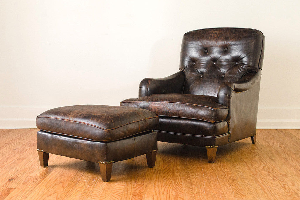 Captivating Leather Club Chair U0026 Ottoman