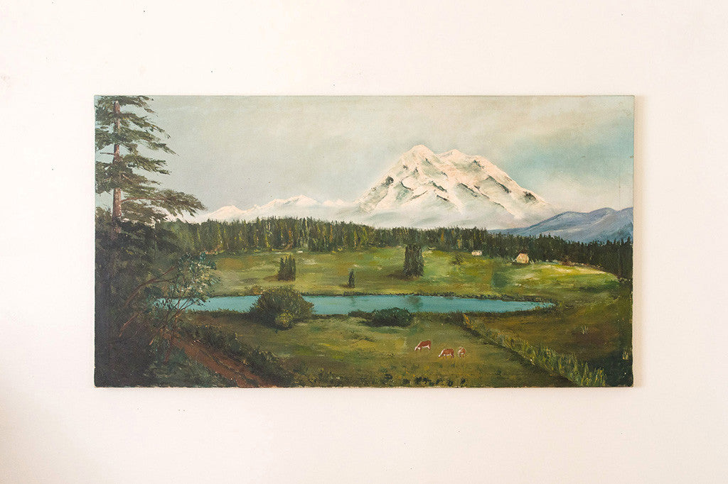 Mt Rainier Folk Art Painting