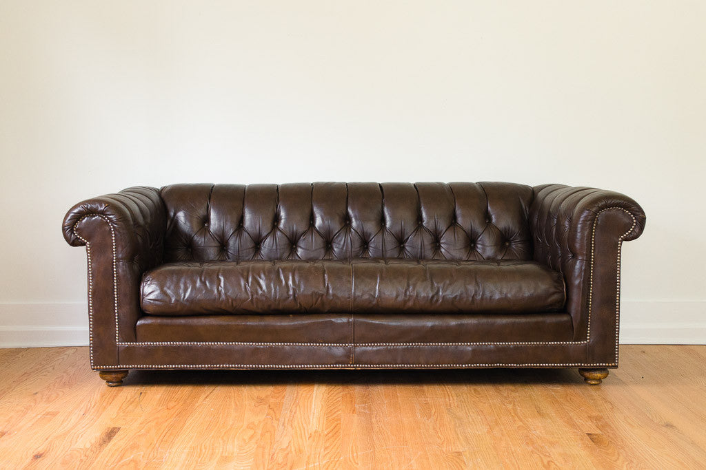 Bernhardt Leather Chesterfield - Homestead Seattle