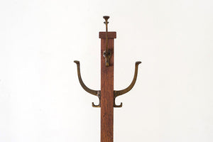 Oak & Brass Coat Rack