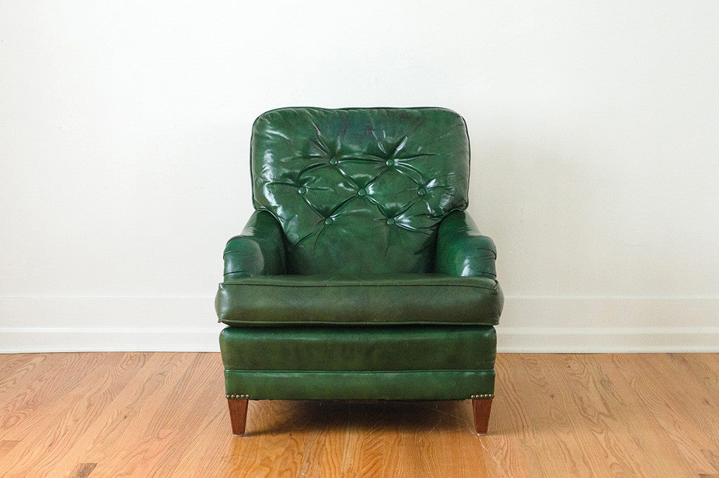 Greyhound Shipping Quote >> Green Leather Club Chair | Homestead Seattle