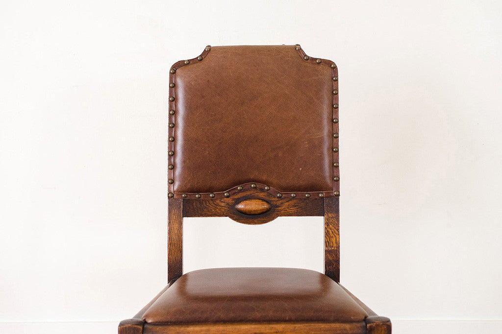 Leather & Oak Dining Chairs