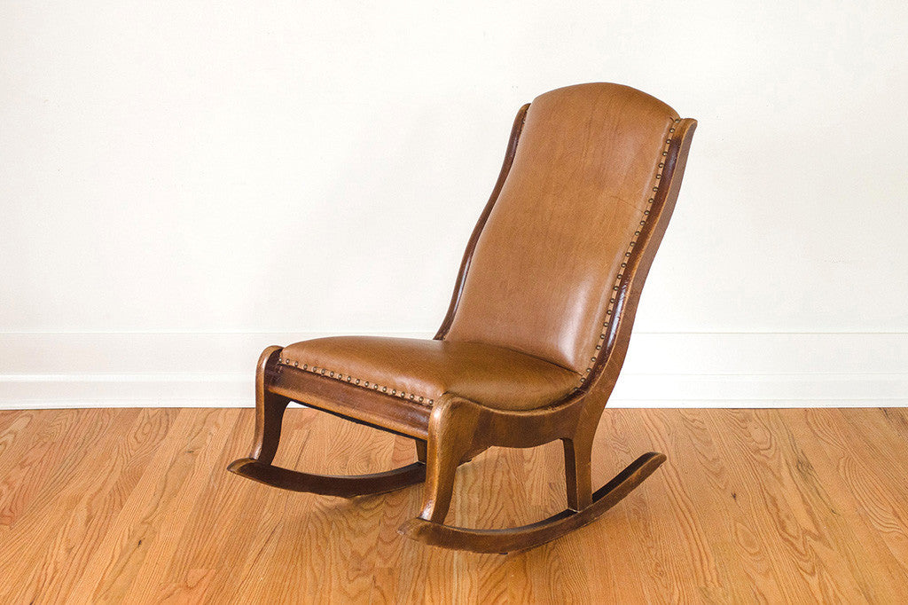 Antique Leather Rocker