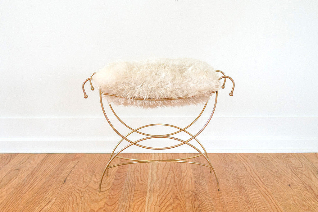 Gold Sheepskin Vanity Stool