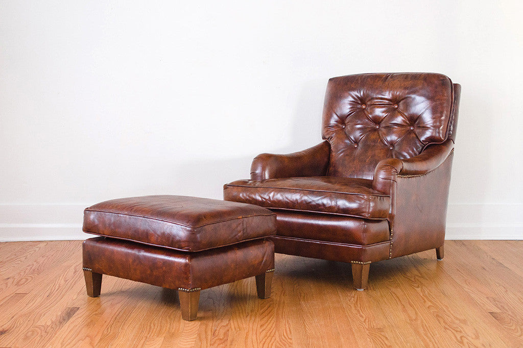 Excellent Leather Club Chair Ottoman Ncnpc Chair Design For Home Ncnpcorg