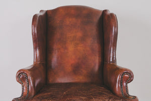 Leather Wingback & Ottoman