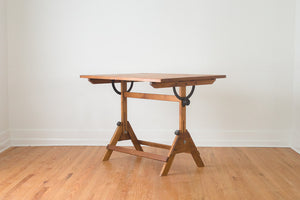 Industrial Oak Draftsman's Table