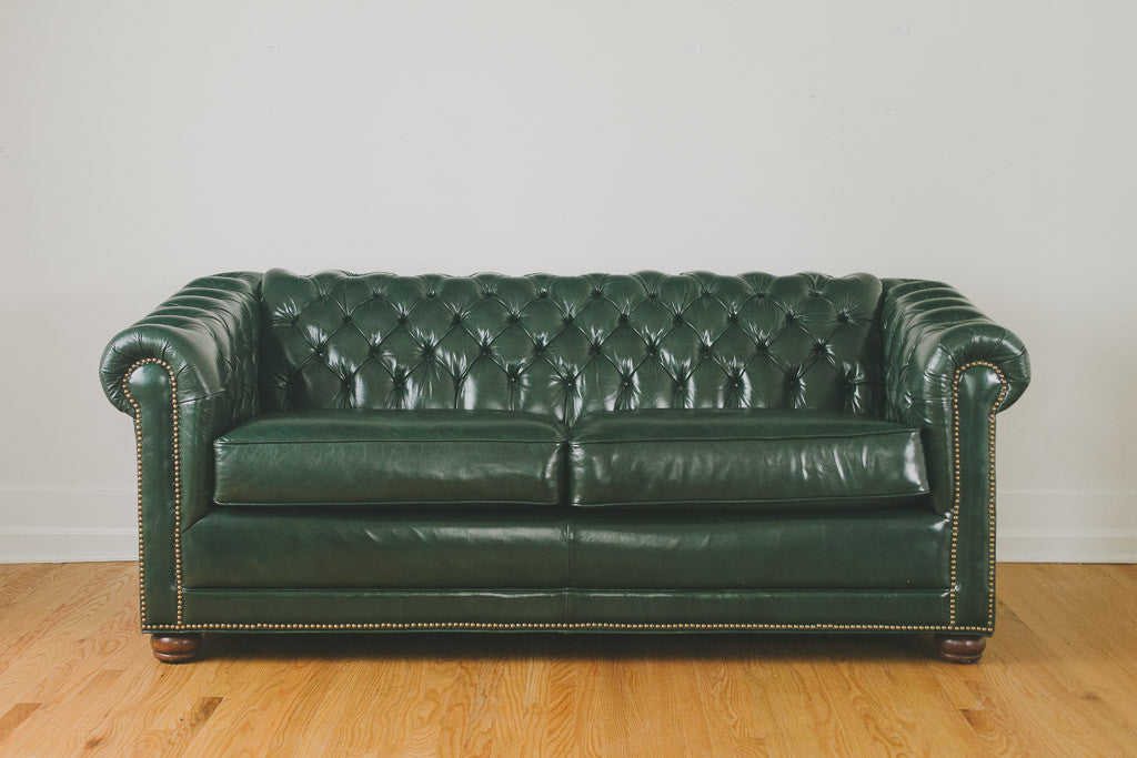 Green Leather Chesterfield - Homestead Seattle