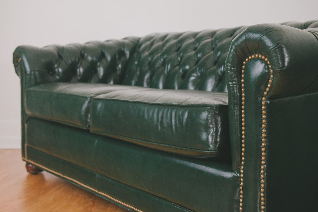 Green Leather Chesterfield