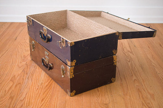 Vintage Metal Suitcase Side Table
