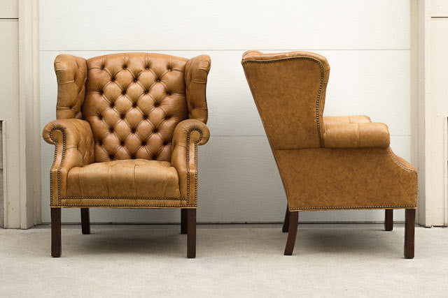 Tufted Leather Wingback Set