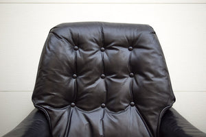 Drexel Black Leather Chair & Ottoman