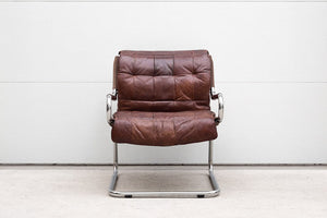 Patchwork Leather & Chrome Chair
