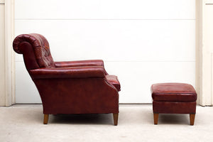 Red Leather Chair & Ottoman