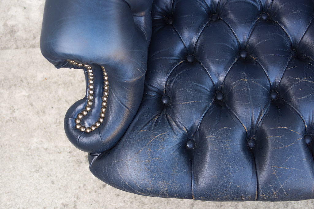 Vintage Navy Tufted Wingback