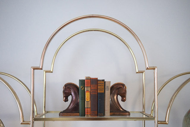 Hollywood Regency Gold Bookcase