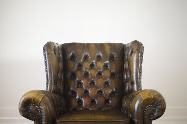 Vintage Tufted Leather Wingback