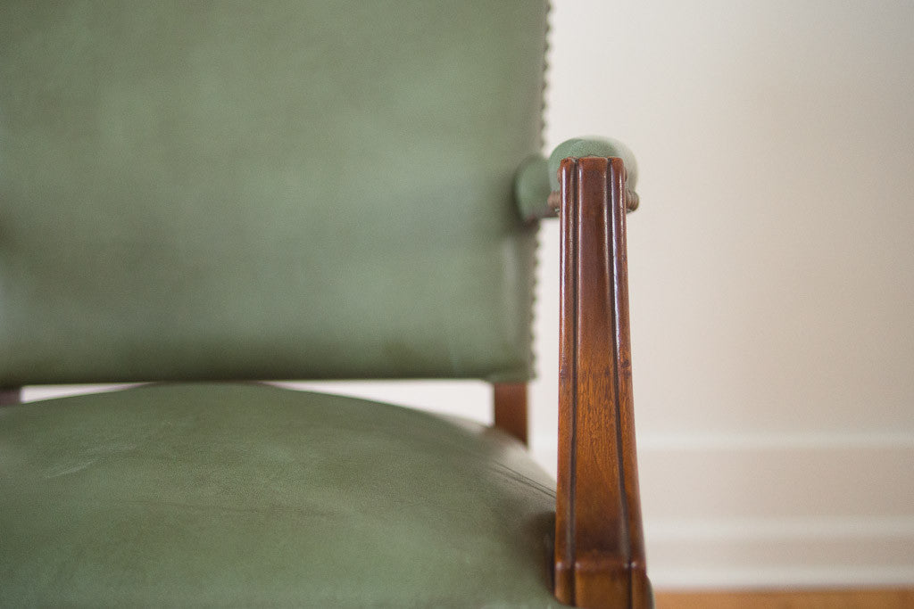 Stow Davis Green Leather Chairs