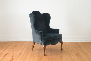 Blue Velvet Wing Chair