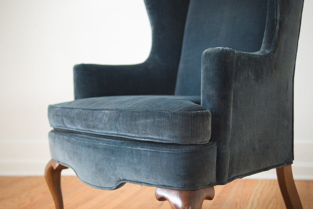 Blue Velvet Wing Chair Homestead Seattle