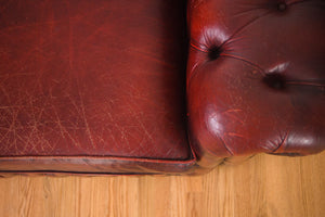 English Red Leather Chesterfield