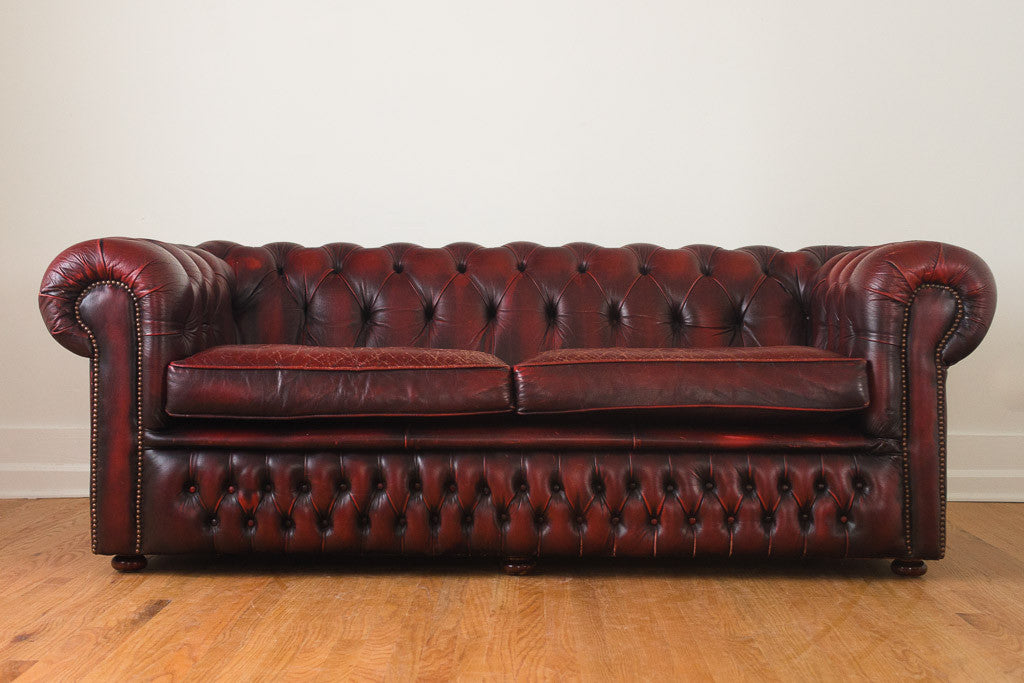 English Red Leather Chesterfield Homestead Seattle