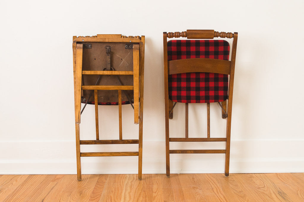 Buffalo Plaid Folding Chairs