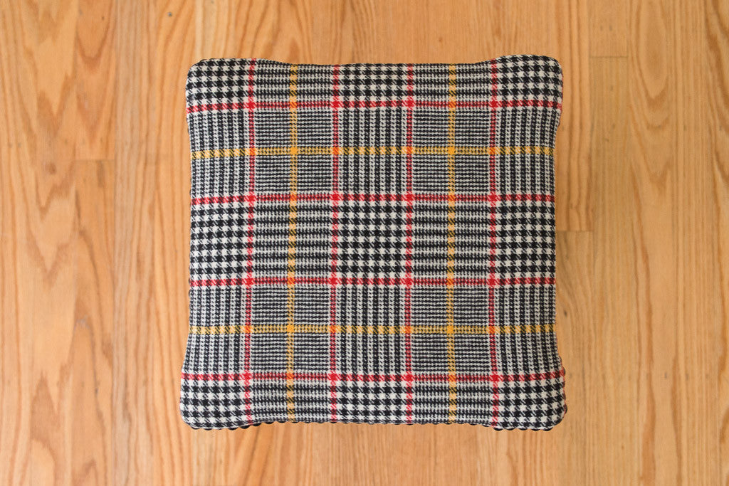Plaid Wool Piano Stool