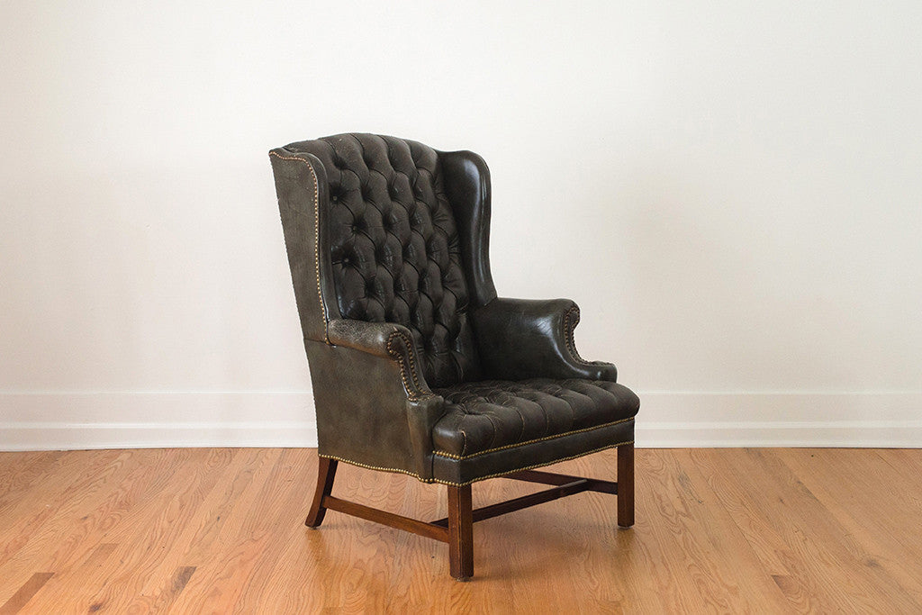 Tufted Green Leather Wing Chair Homestead Seattle