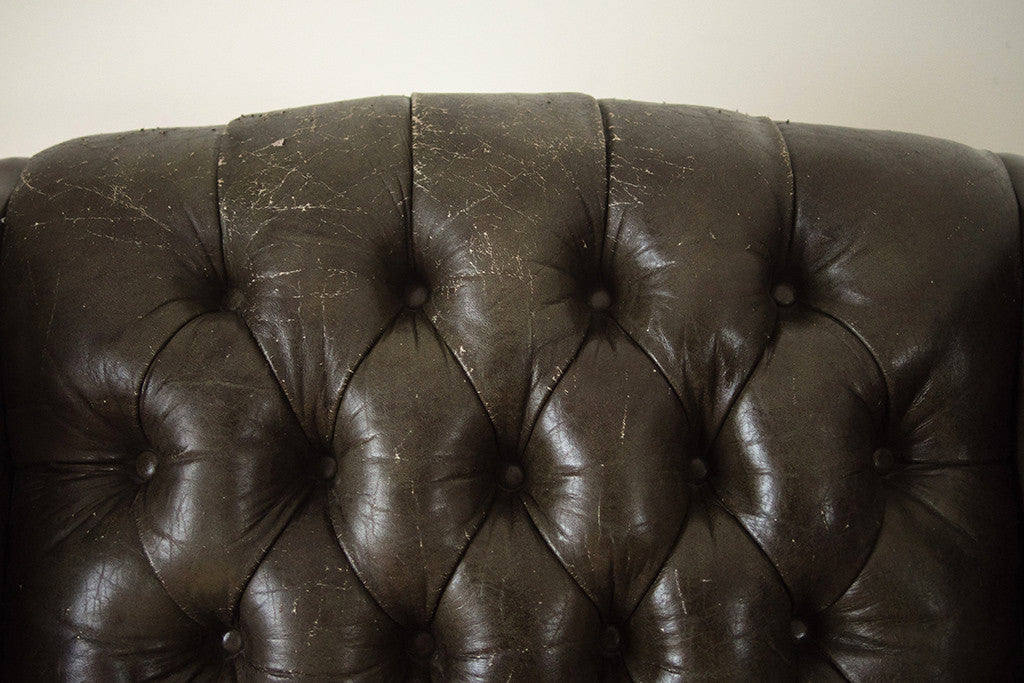 Tufted Green Leather Wing Chair