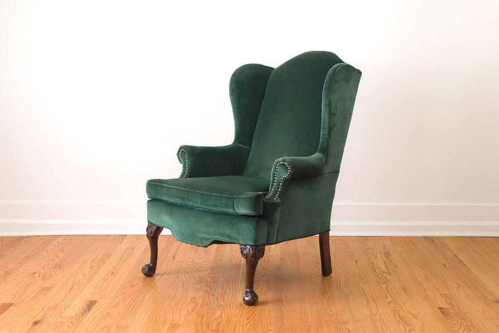Emerald Velvet Wing Chair Homestead Seattle