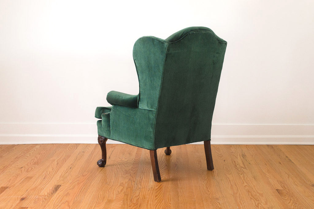 Exceptional Emerald Velvet Wing Chair