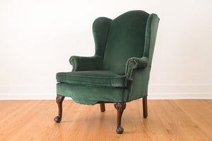 Emerald Velvet Wing Chair