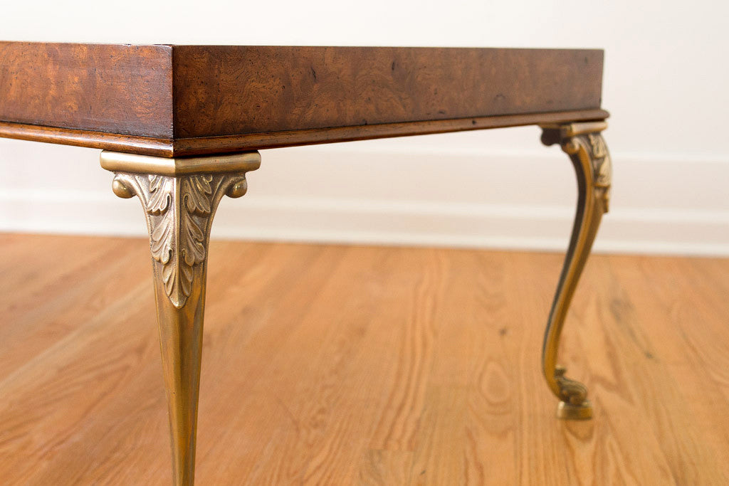 Burl Wood & Brass Coffee Table